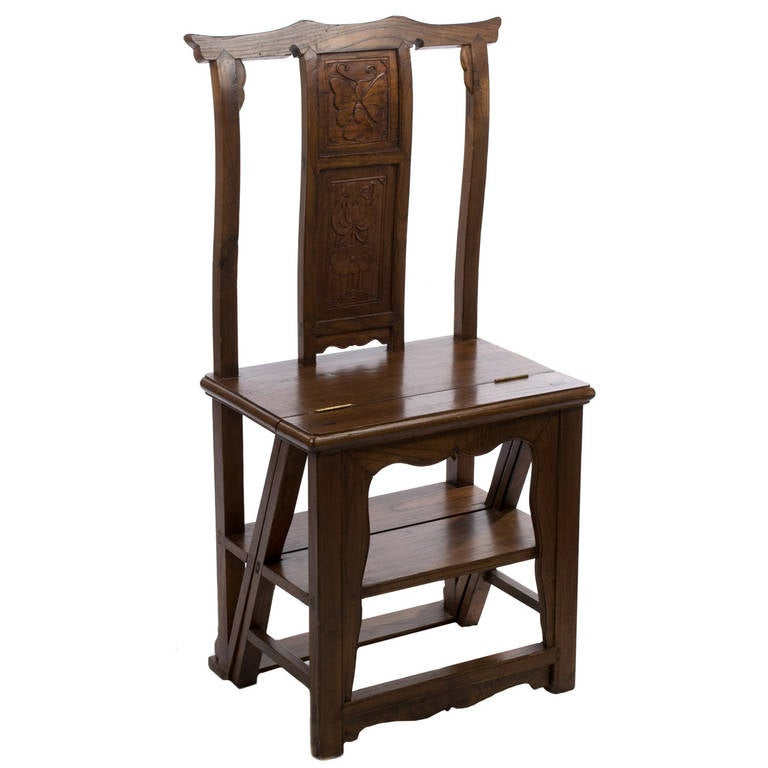 Oak Unfolding Library Ladder Chair For Sale