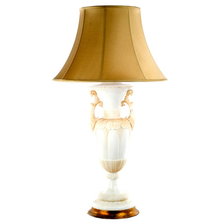 Carved Italian Alabaster Table Lamp For Sale