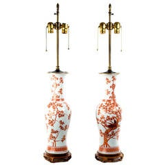 Pair of Large Lamped Baluster Vases