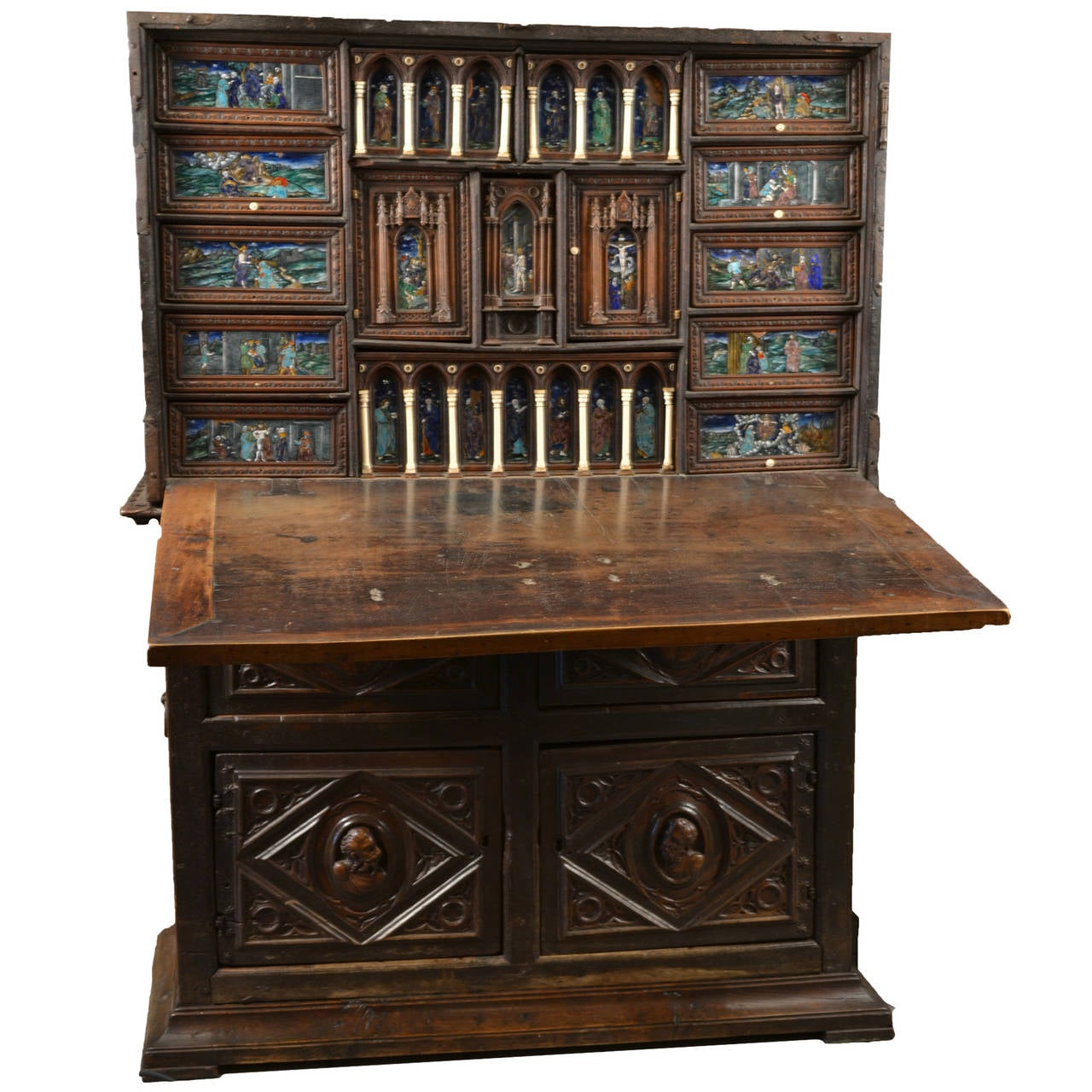 16th century spanish vargue o cabinet with limoges enamel for Furniture in spanish