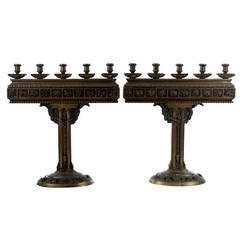 Pair of Large Bronze Art Deco Candelabras