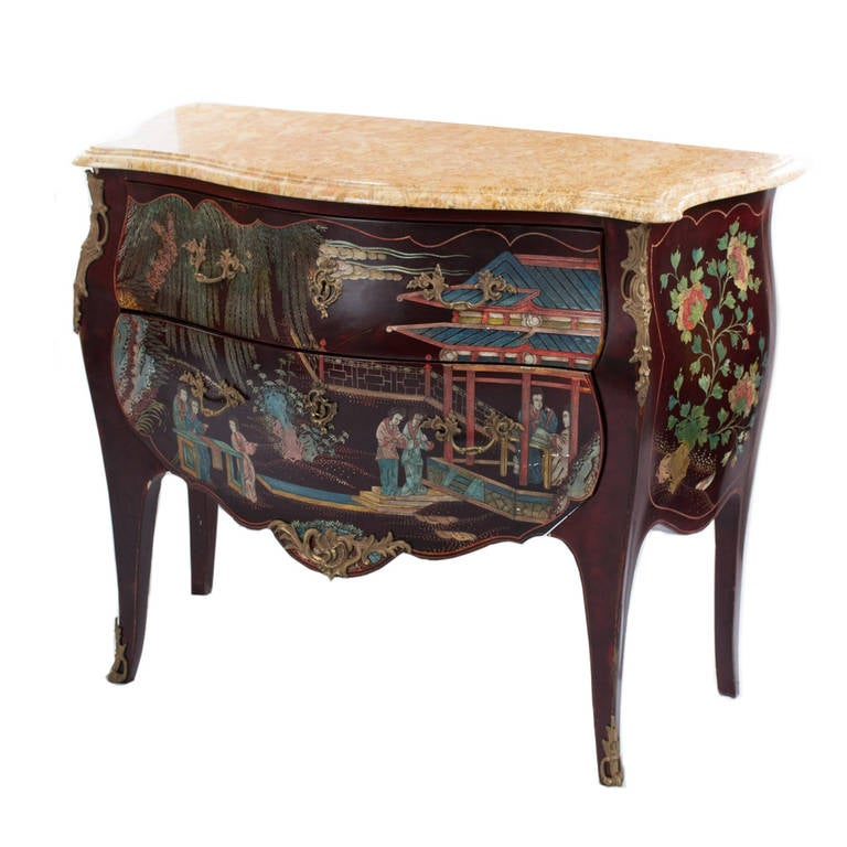 Louis xv style vernis martin lacquer japonisme commode with marble top at 1s - Commode profondeur 35 ...