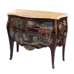 louis xv style vernis martin lacquer japonisme commode with marble top. Black Bedroom Furniture Sets. Home Design Ideas