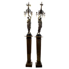 Pair of Monumental Bronze Candelabra Sculptures on Stands by Émile Picault