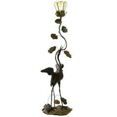 Japanese Heron Floor Lamp in Bronze and Blown Glass