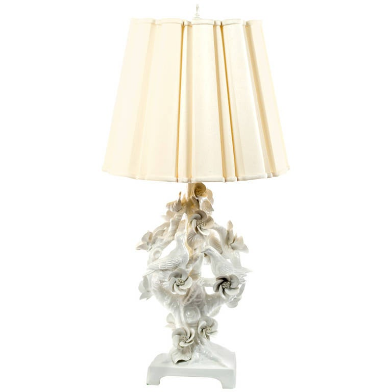 Mid-Century Italian Blonde en Chine Porcelain Table Lamp For Sale