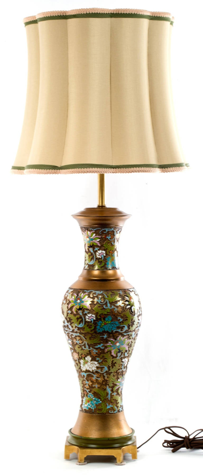 midcentury chinese cloisonn table lamp 3