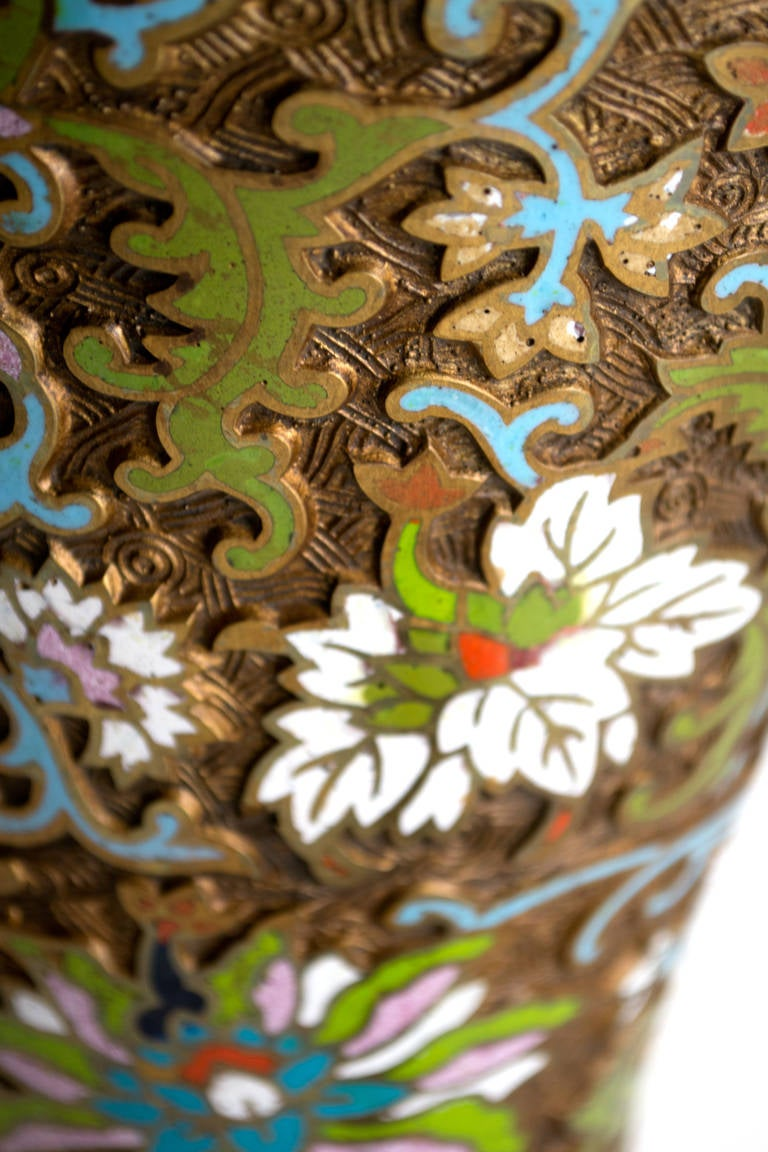 Bronze Mid-Century Chinese Cloisonné Table Lamp For Sale