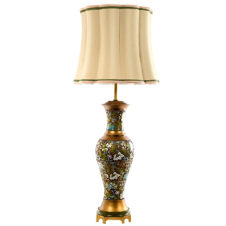 Mid Century Chinese Cloisonné Table Lamp For Sale