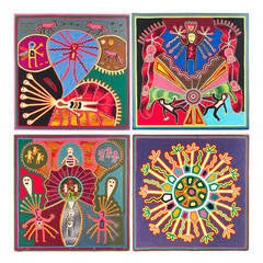 Group of Mexican Huichol Yarn Paintings