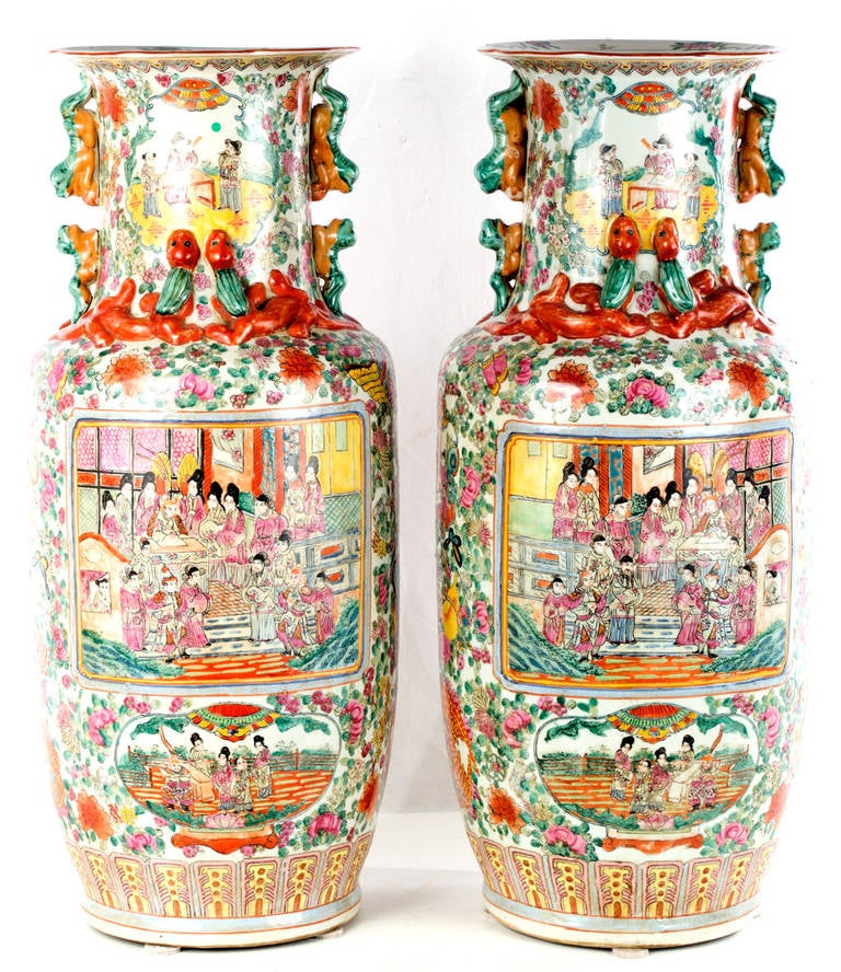 Pair Of Chinese Canton Rose Baluster Vases At 1stdibs