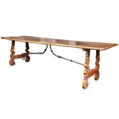 Eighteenth Century Spanish Walnut Trestle-Form Dining Table