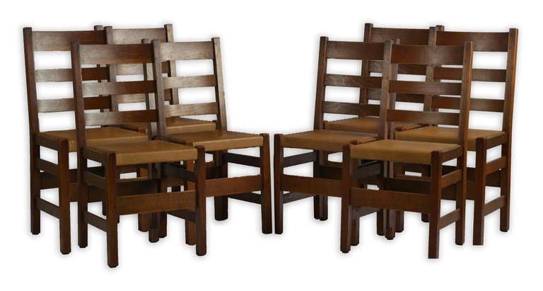 Stickley arts and crafts chairs at 1stdibs for Arts and crafts dining room furniture