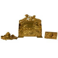 Gilt Bronze Desk Set By Albert Marionnet