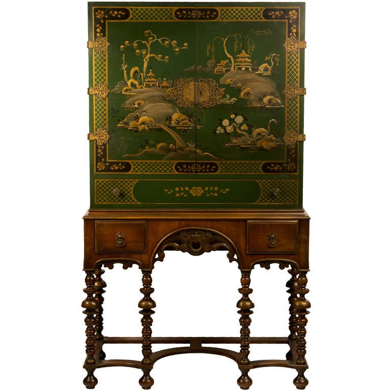 Green Lacquered Chinoiserie Cabinet on Stand 1