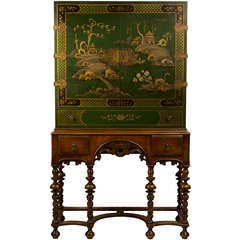 Green Lacquered Chinoiserie Cabinet on Stand