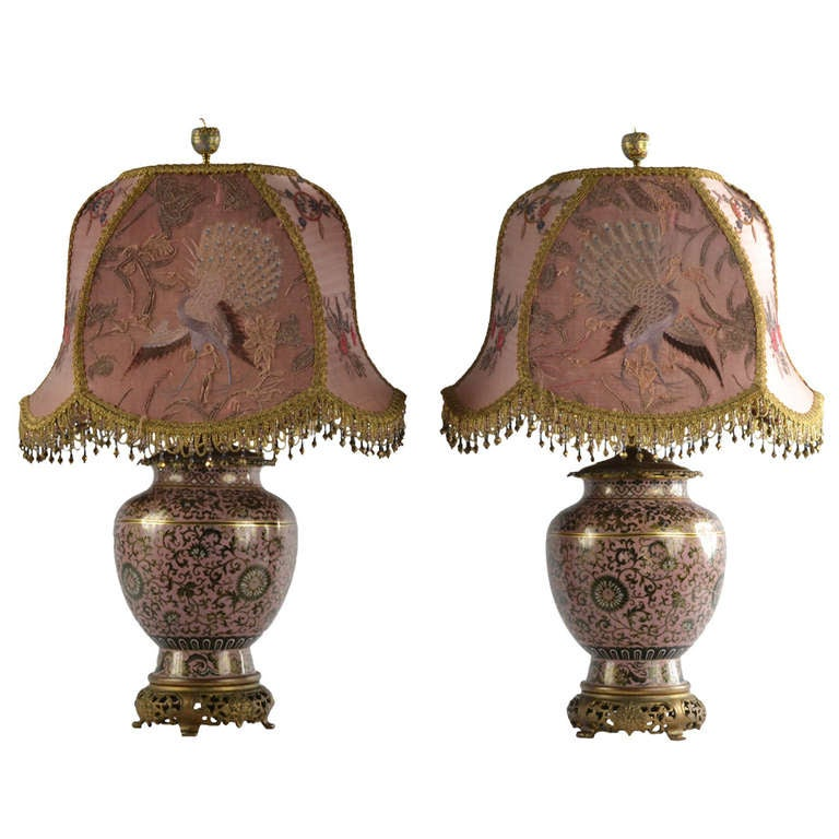 Pair Of Mejii Famille Rose Cloisonne Table Lamps At 1stdibs