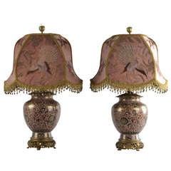 Pair of Mejii Famille Rose Cloisonné Table Lamps