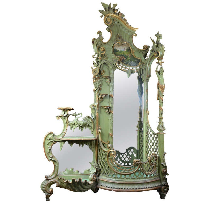 Large Gilt Rococo Style Venetian Hall Tree With Mirror