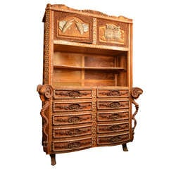 Aegean Carved Curiosity Cabinet and Shelf