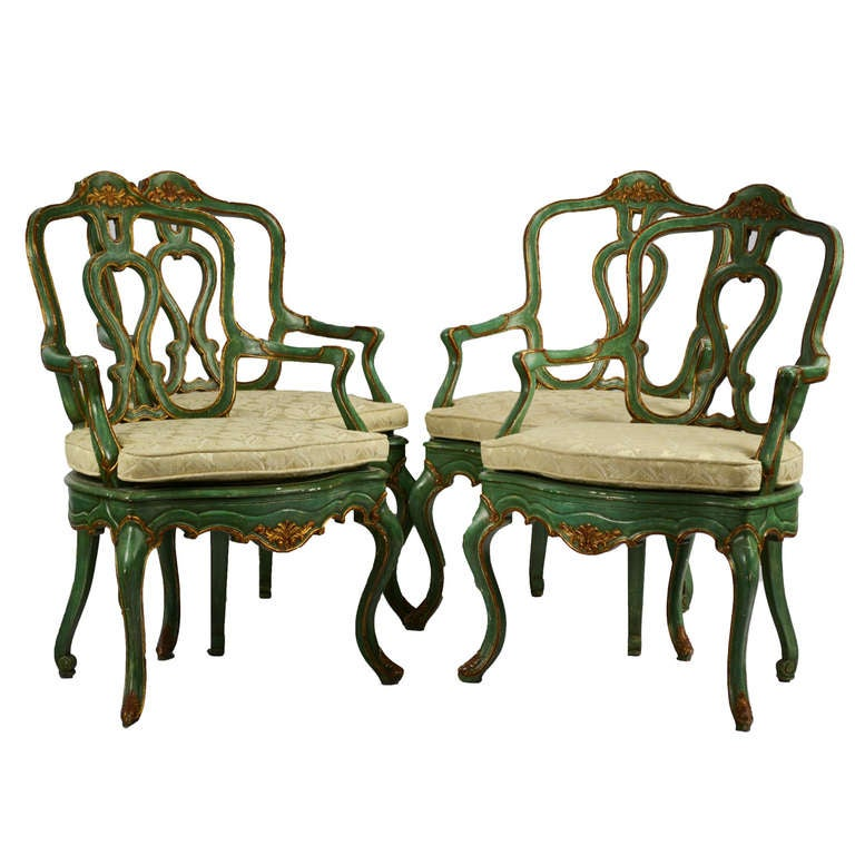Set of Four Venetian Arm Chairs For Sale