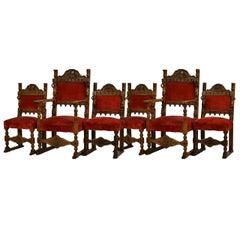 Set of Six Italian Renaissance Revival Chairs