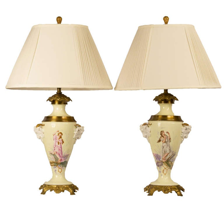 A Pair of Painted Ormolu Lamped Vases 1