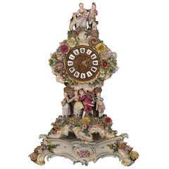 Large Meissen Multi-figural Floral Clock