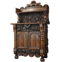 Unusual Small Black Forest Burl Cabinet