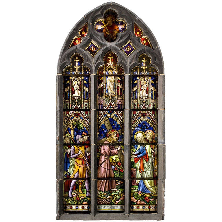 Suite Of Three Religious Stained Glass Windows With