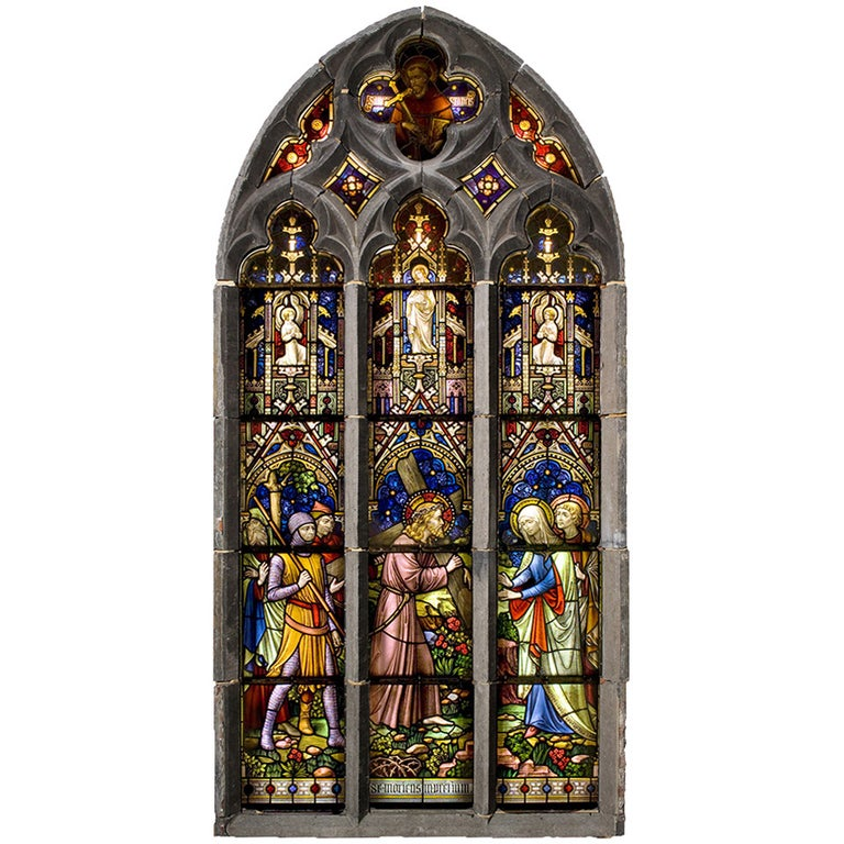 Suite of Three Religious Stained Glass Windows with Original Stone Traceries