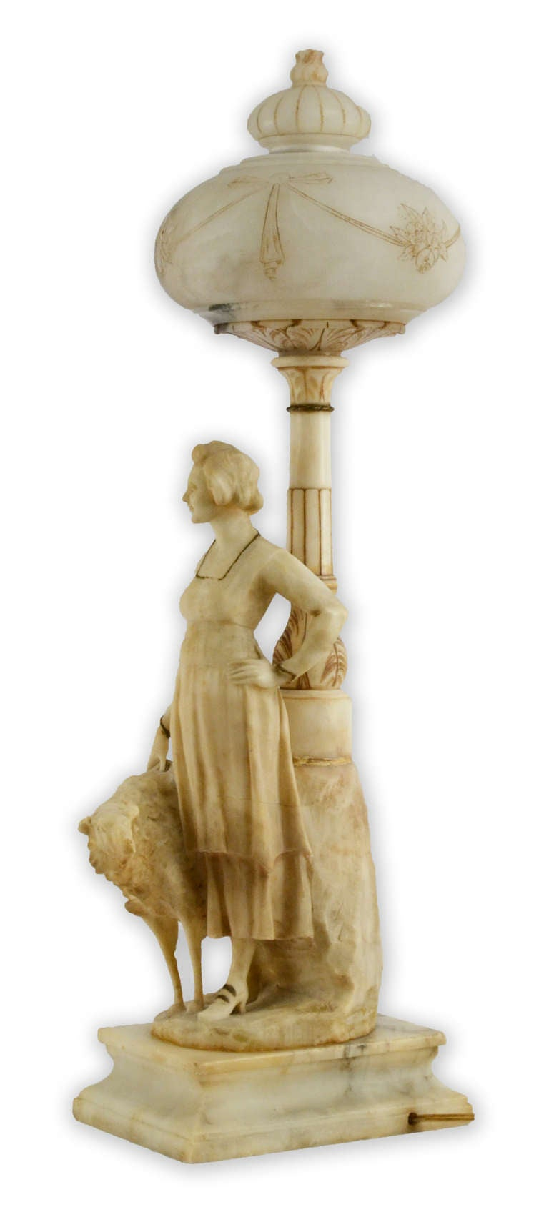 Belle Époque Belle Époque Italian Alabaster Lamp Featuring Woman and Hound For Sale