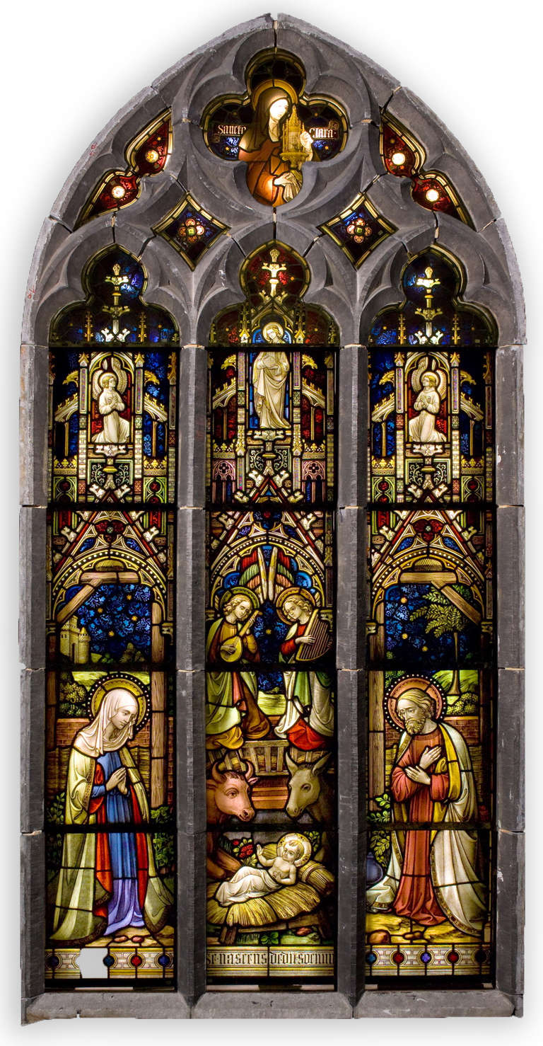 Suite of Three Religious Stained Glass Windows with Original Stone Traceries 3