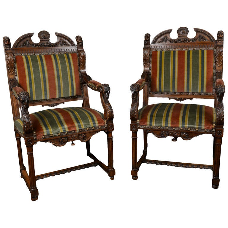 Pair Of French Walnut Renaissance Revival Chairs At 1stdibs