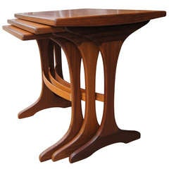 Vintage Solid Teak Nesting Tables