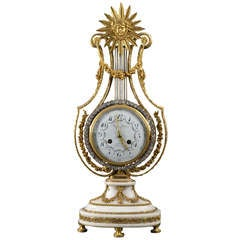 Monumental Empire Lyre-shaped Mantle Clock