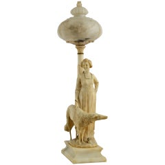Belle Époque Italian Alabaster Lamp Featuring Woman and Hound