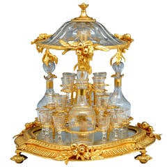 Mechanical Gilt Bronze and Crystal Tantalus