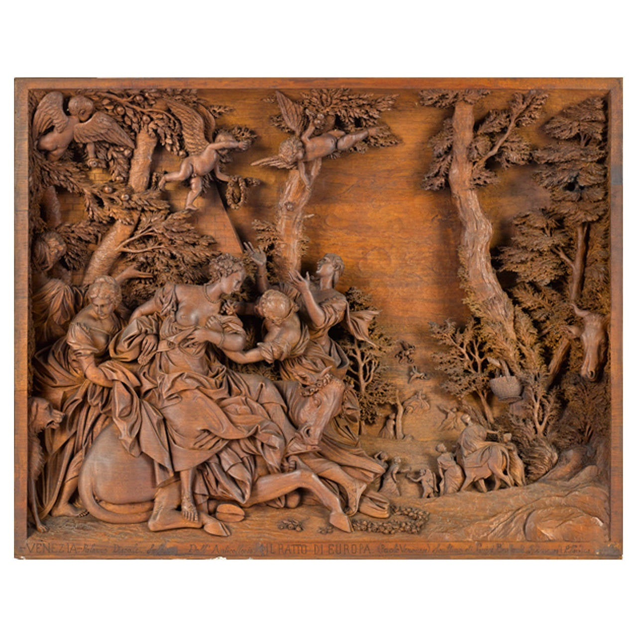 Virtuosic full relief mahogany sculpture of quot the abduction