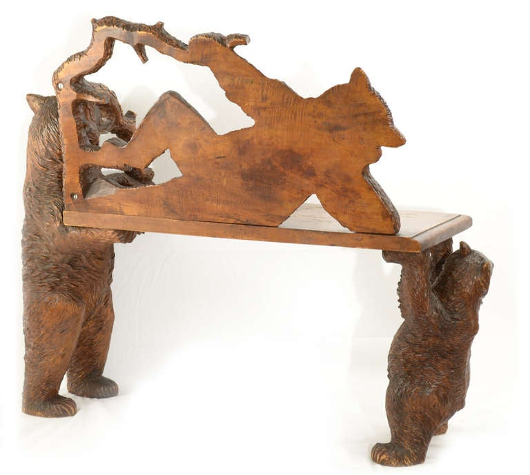 Quot The Three Bears Quot Black Forest Bench At 1stdibs