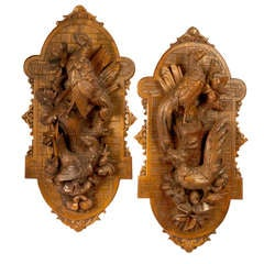 Pair of Carved Nature Morte Wall Plaques