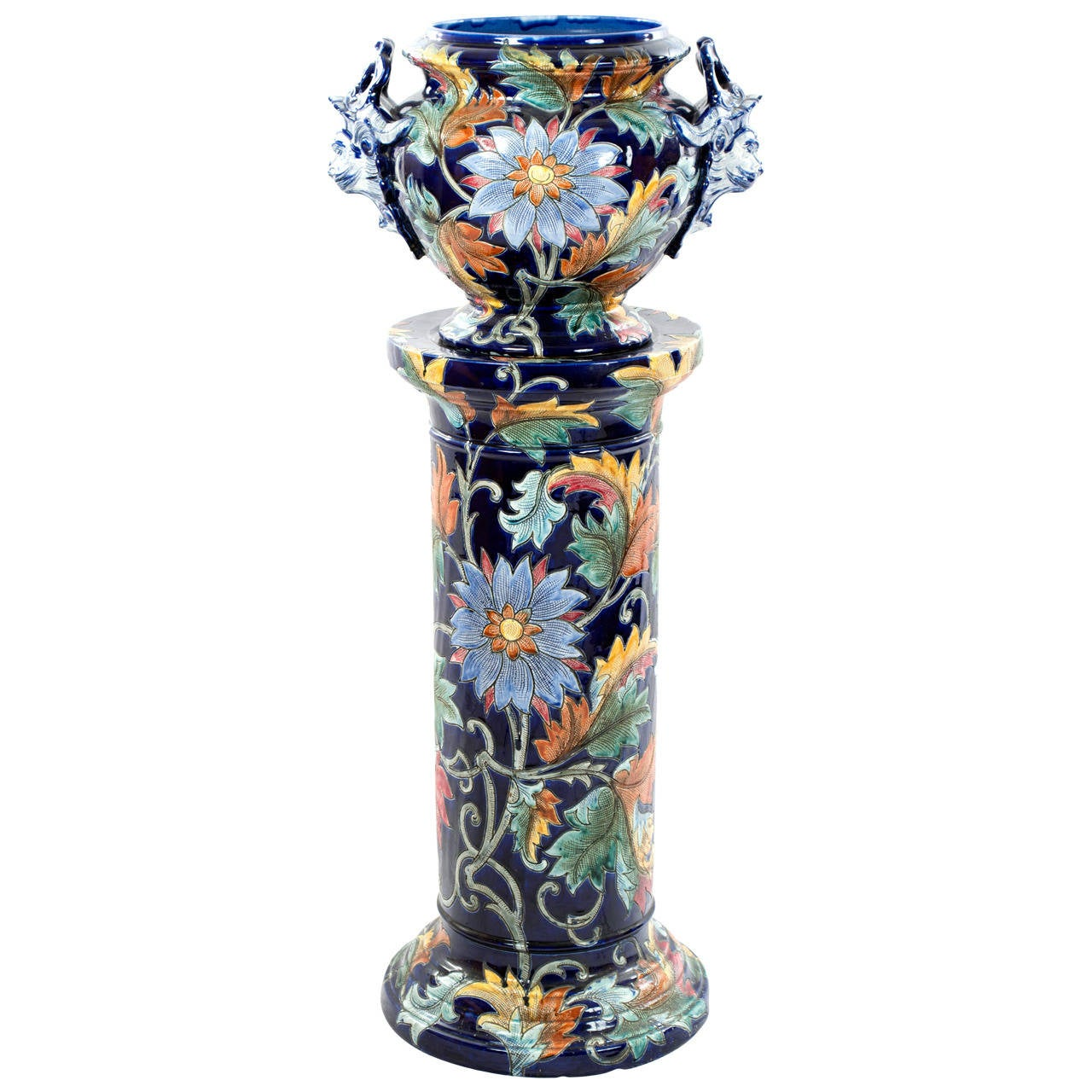 Large Italian Majolica Vase with Stand