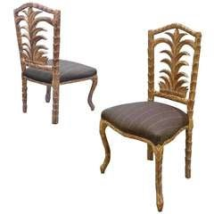 Set of 6 Mid-Century Egyptian Palm Design Dining Chairs Distressed Gold Leaf