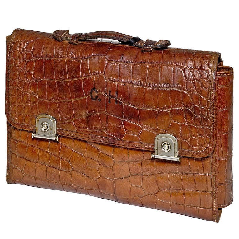 Crocodile Skin Gentleman's Travelling Toiletry Bag 1