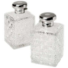 Pair of Square Silver and Glass Perfume Bottles