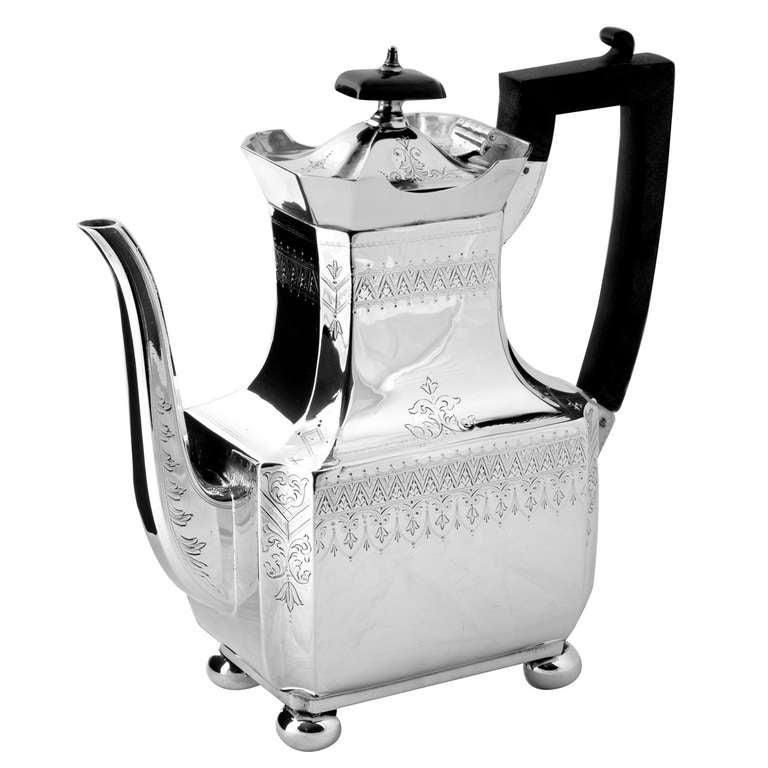 Four piece Victorian silver plate tea set