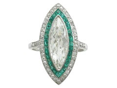 1910s Antique French Emerald 2.82 Carat Diamond Gold Cocktail Ring