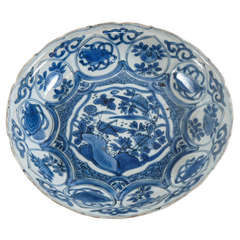 Kraak Ming Porcelain Blue and White Shallow Bowl - China, circa 1600