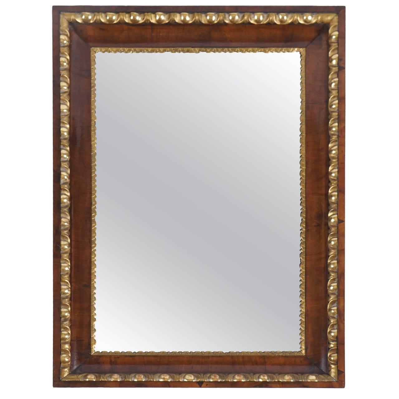 Walnut Parcel Gilt Biedermeier Mirror, Austria, circa 1820