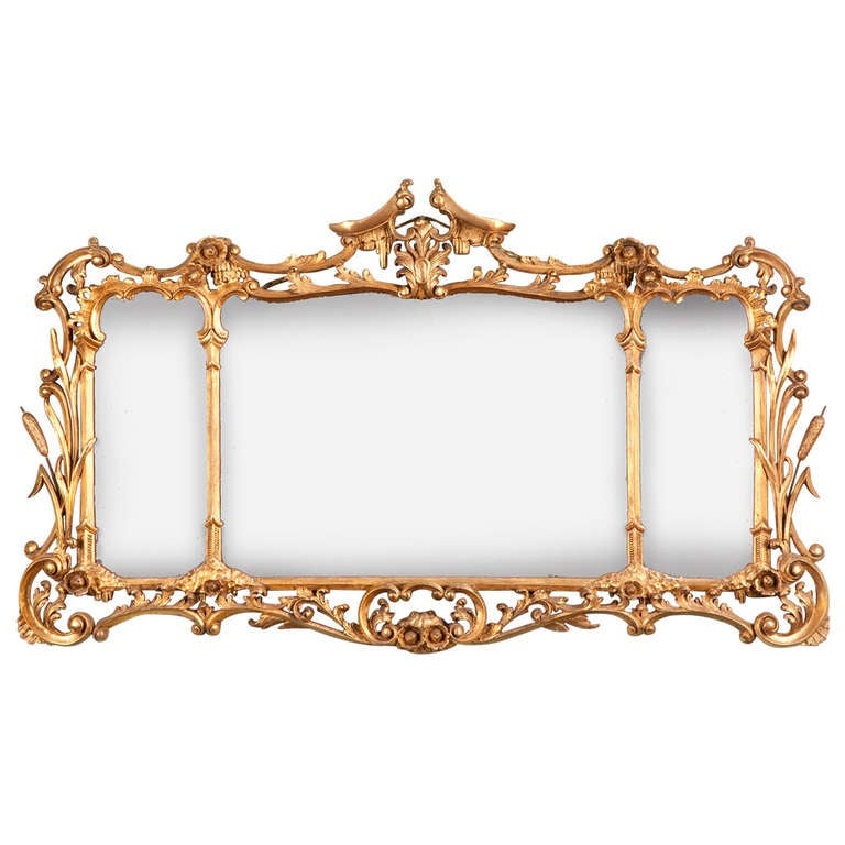 An antique chippendale style over mantel mirror at 1stdibs for Mantel mirrors